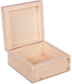 Drewniane pudełko na maszynkę, akcesoria 10x10x5cm